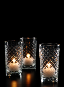 4 1/2in Cut Glass Squares Votive Holder, Set of 6
