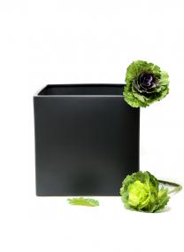9 1/2in Matte Black Ceramic Cube