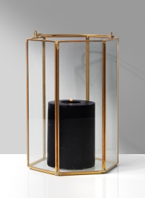 8in Gold Hexagon Lantern
