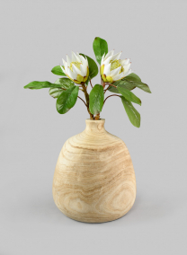 12in Paulownia Wood Bottle Vase