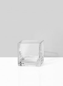 small square glass vase