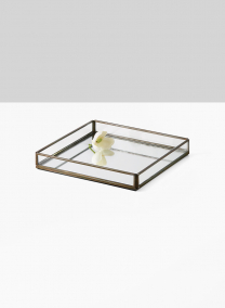 antique finish tray with mirror bottom