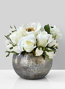 white rose peony centerpiece fishbowl vase