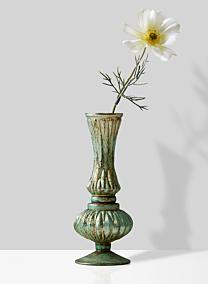 verdigris bud vase with cosmos