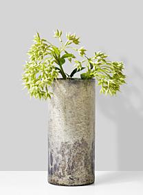 white pewter glass vase with eucalyptus