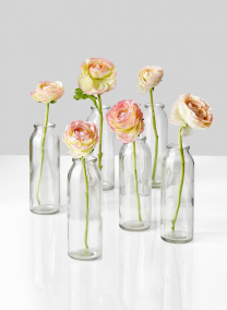 ranunculus in glass milk bottle vases