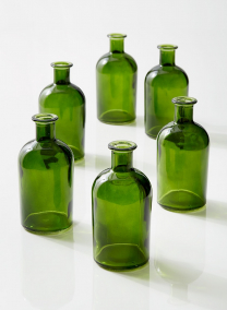 Dark Green Medicine Bottle Bud Vase, Set of 6