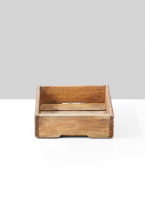 square wooden tray with slat bottom