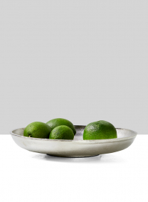 round nickel bowl fruit display