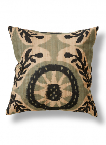 black and tan ikat print silk pillow