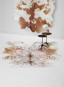 brown cowhide leather area rug
