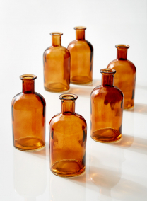 Amber Medicine Bottle Bud Vase, Set of 6