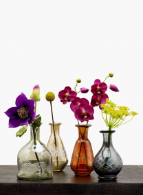 Etched Glass Bottle Vases