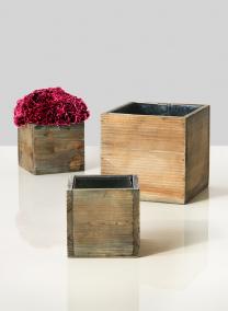 cube aged wood vases