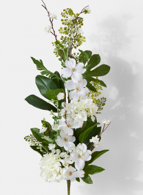 white hydrangea and dogwood cascading wedding bouquet