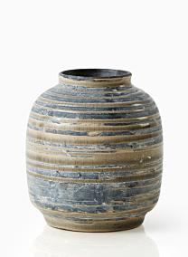 4 1/2in Grey & Tan Stripe Ceramic Vase
