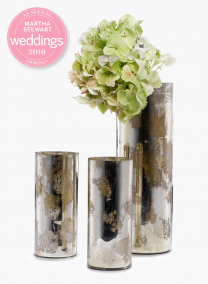 9in & 15in Antique Silver Glass Cylinders