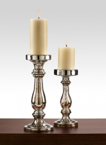 Antique Silver Glass Pillar Holders