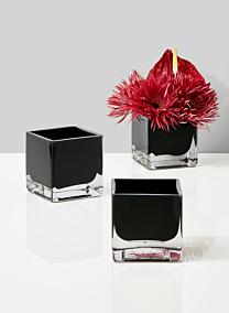 modern black glass square vase for floral centerpieces