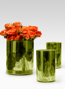 Antique Moss Shimmer Glass Cylinders