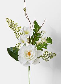 white frangipani peony fern silk flower pick