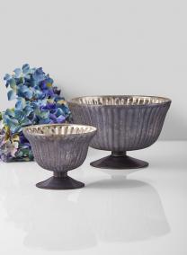 Antique Platinum Ribbed Catora Bowls
