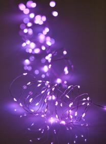 Battery Operated 80-Light Purple Naked Wire L.E.D. Light String