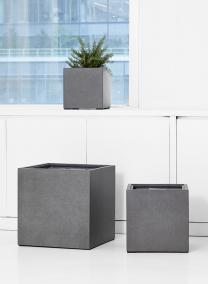 modern square cement fiber planter pot