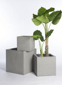 12in, 15 3/4in, & 20in Square Rough Grey Ficonstone Pots