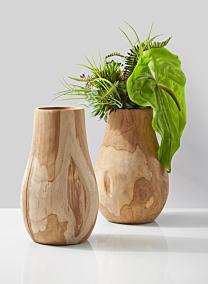 natural teak wood vase succulent anthurium floral arrangement