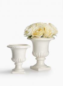7in & 8 1/2in White Ceramic Urns