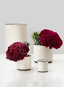 white linen ceramic flower vases