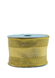 2 1/2in Gold Stripe Mesh Ribbon