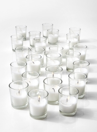 10-Hour White Votive In Clear Glass, Set of 25
