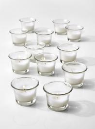 10-Hour White Votive In Tulip Glass, Set of 12