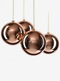 4in Shiny Copper Plastic Ornament Ball, Set of 4