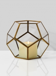 10in Glass Honeycomb Candleholder