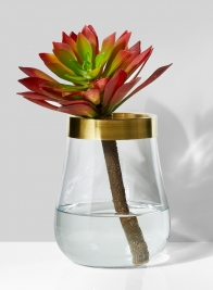 7 1/4in Balloon Vase With Gold Rim