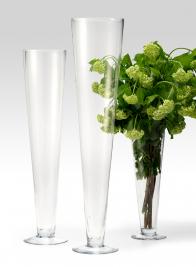 15in & 24in Glass Trumpet Vases