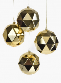 4in Shiny Gold Diamond Ornament Ball, Set of 4