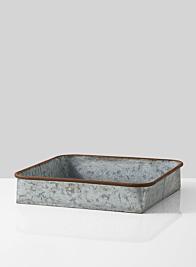 rust rim large zinc square tray
