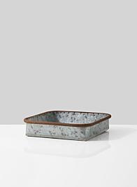 rust rim galvanized zinc square metal tray
