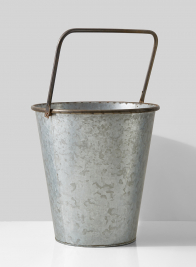 rust rolled rim zinc bucket with square handle
