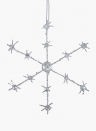 6 1/2in Iridescent Silver Glitter Beaded Snowflake