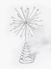 Ice Bead Silver Starburst Tree Topper
