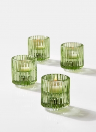 Green Pleated Glass Tea Light Holder, Set of 4
