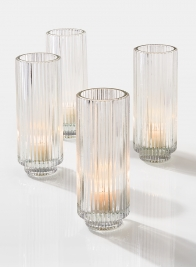 6 1/4in Pleated Glass Votive Holder, Set of 4