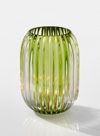 5in Green Optical Glass Votive Holder
