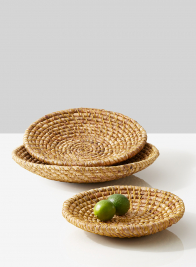 hyacinth and straw fruit display shallow bowls