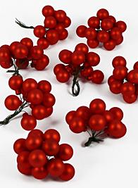 25mm Matte Red Glass Balls on Picks, Set of 144